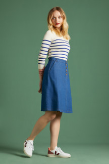 High Waist Button Skirt Chambray