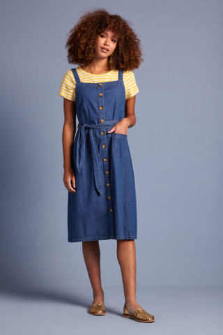 Beth Pinafore Dress Chambray