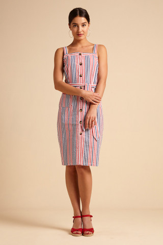 Beth Pinafore Dress Bellaria Stripe