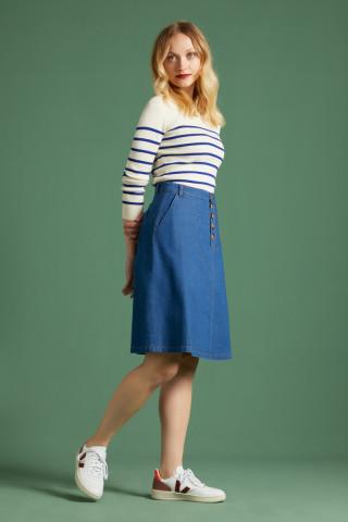 High Waist Button Skirt Chambray