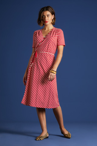 Mandy Wrap Dress Breton Stripe